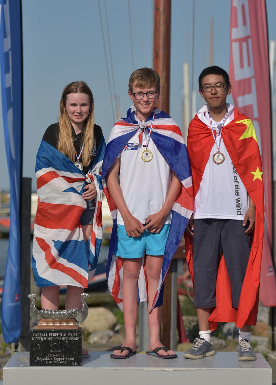 Topper World Champion 2019 medalist on the Podium, with national flags drapped around them
